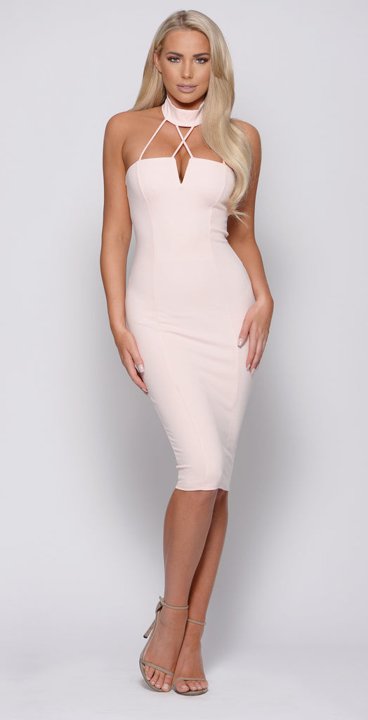 PINK STRAPPY BODYCON DRESS