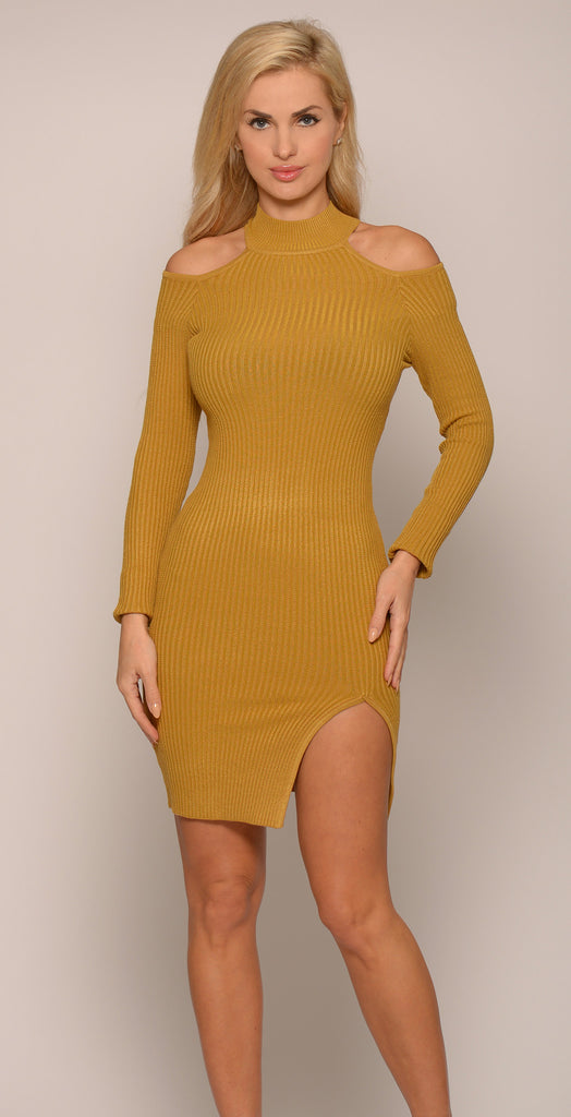COLD-SHOULDER RIBBED BODYCON DRESS -Dresses