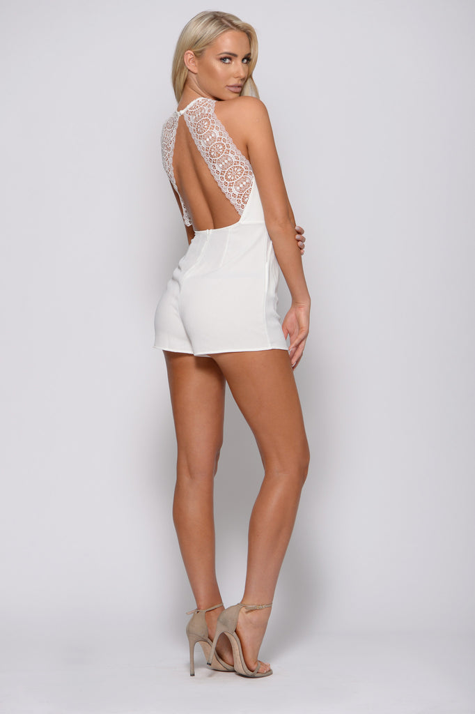 IVORY LACE BACK ROMPER -rompers