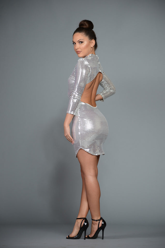 SILVER OPEN BACK SEQUIN DRESS