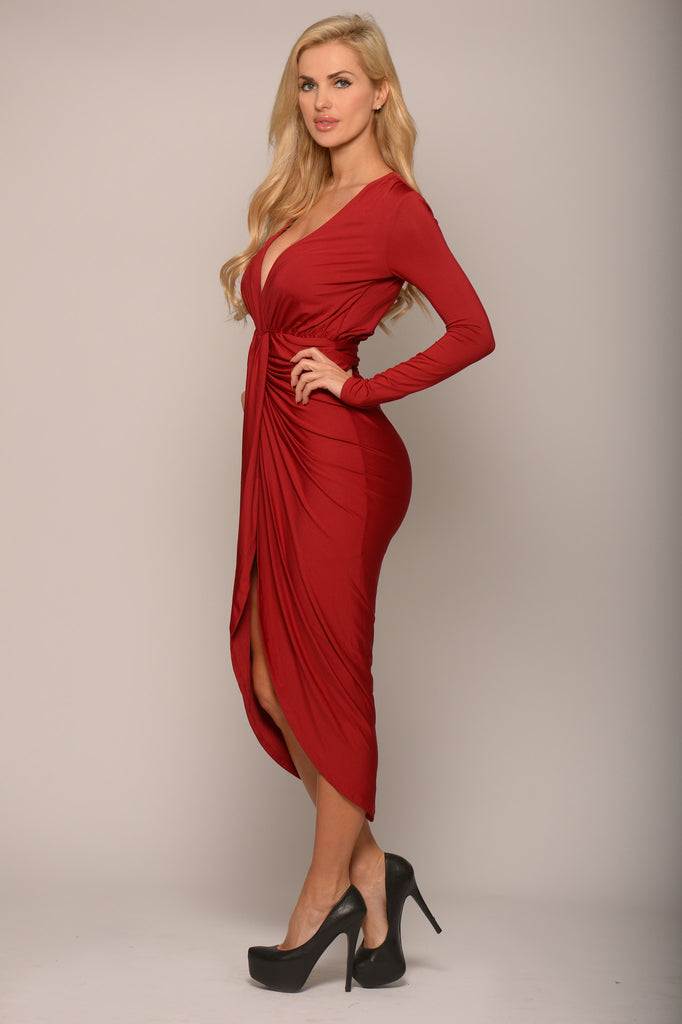 Pause To Inquire Long Sleeve Dress - Burgundy -dresses