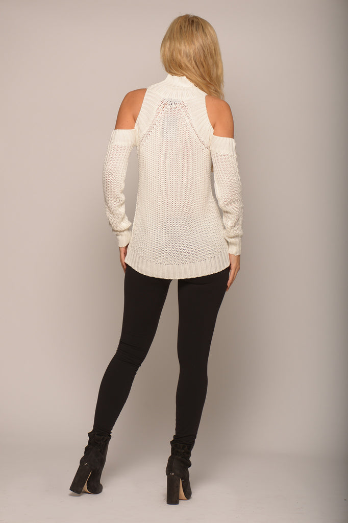 COLD SHOULDER SWEATER -sweater