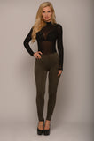 SHEER MESH MOCK NECK BODYSUIT -Tops