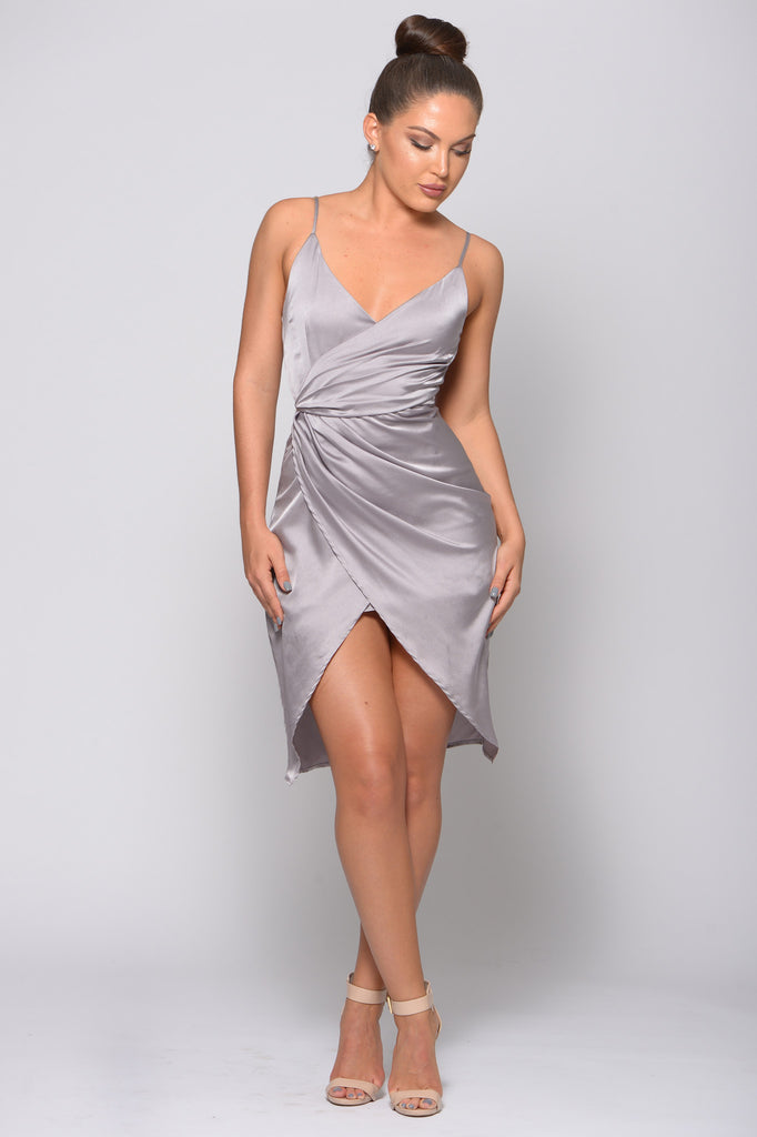 HOLLY WRAP OVER SATIN DRESS