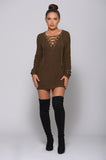 MEGAN LACE-UP KNIT SWEATER