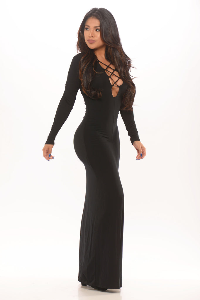 Tie Me Up Maxi Dress - Black -dresses