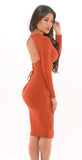 Ribbed Cutout Dress -dresses