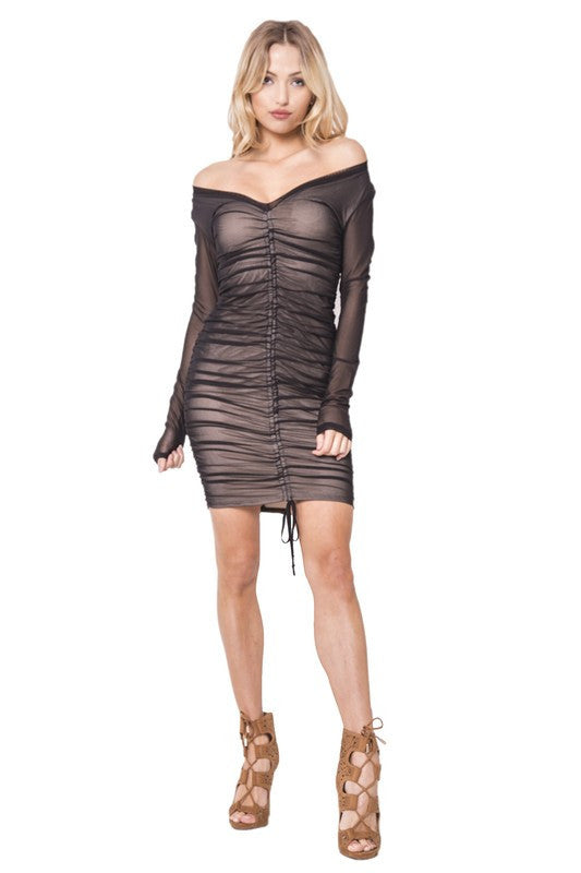 ARIKA MESH RUCHED BODYCON DRESS