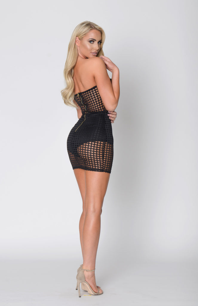 CHECK MATE GRID MESH BODYCON DRESS -Dresses