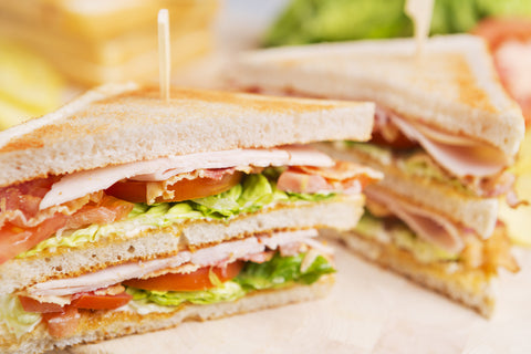 A club sandwich on a white background.