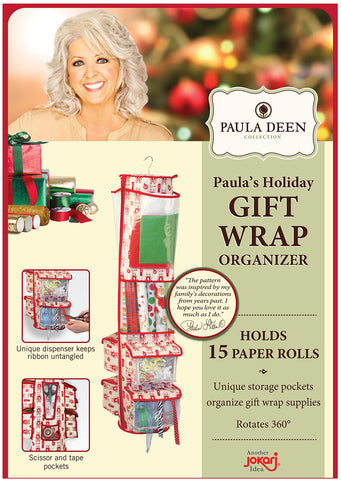Paula Deen Hanging Rotating Gift Wrap and Supply Organizer. Perfect to Store Wrapping Paper Rolls, Present Bags, Ribbons, Bows, Tags, Tape, Scissors and More Saving Closet and Floor Space at Home.