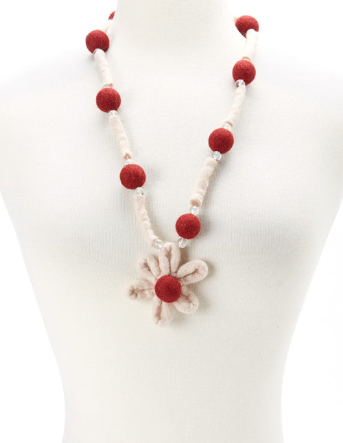 Flower Pendant Felt Necklace