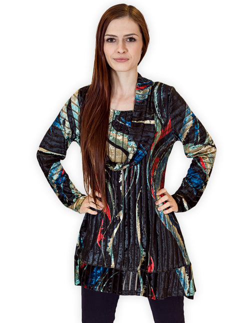 Palila Velvet Abstract Print Cowl Neck Tunic