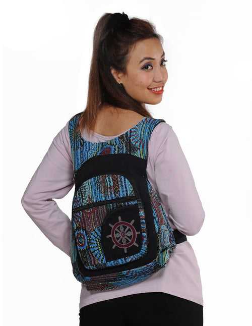 Mandala Applique Tribal Cotton Backpack