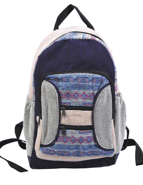 Blue Tribal Multi Pockets Backpack