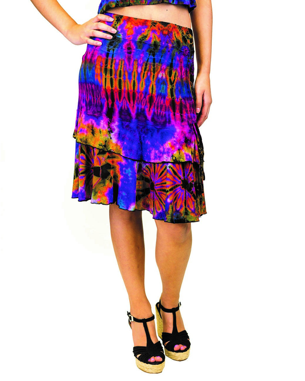 Tie Dye Side String Ruffle Skirt