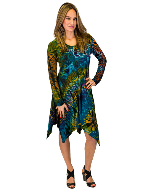 Sharkbite Bottom Tie-Dye A-line Dress