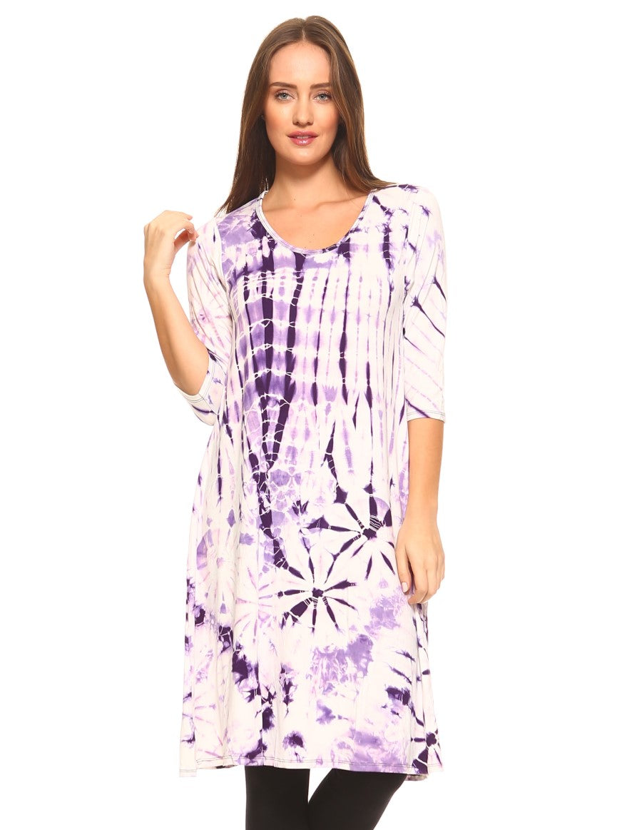 Tie Dye 3/4 Sleeve Dress