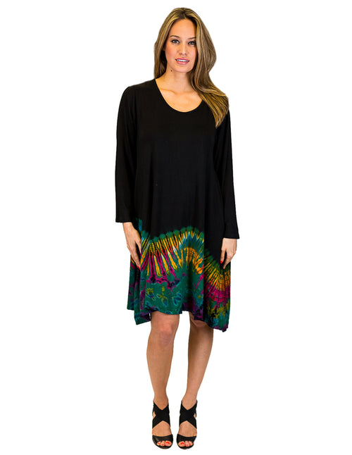 Half Tie-Dye Tunic Dress