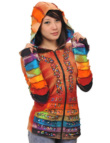 Rainbow Sleeves Hooded Jacket