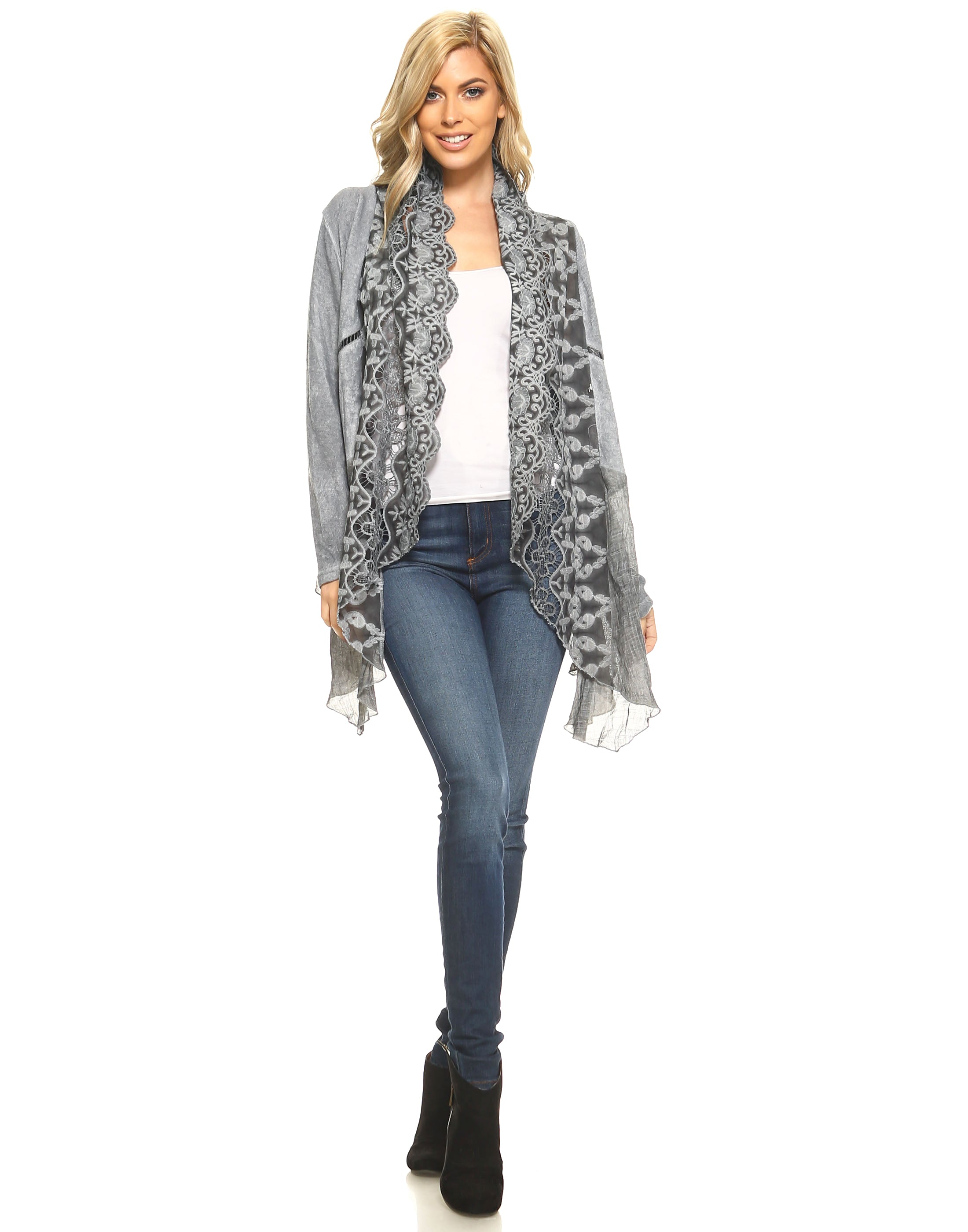 Grey Scalloped Lace Front Open Cardigan