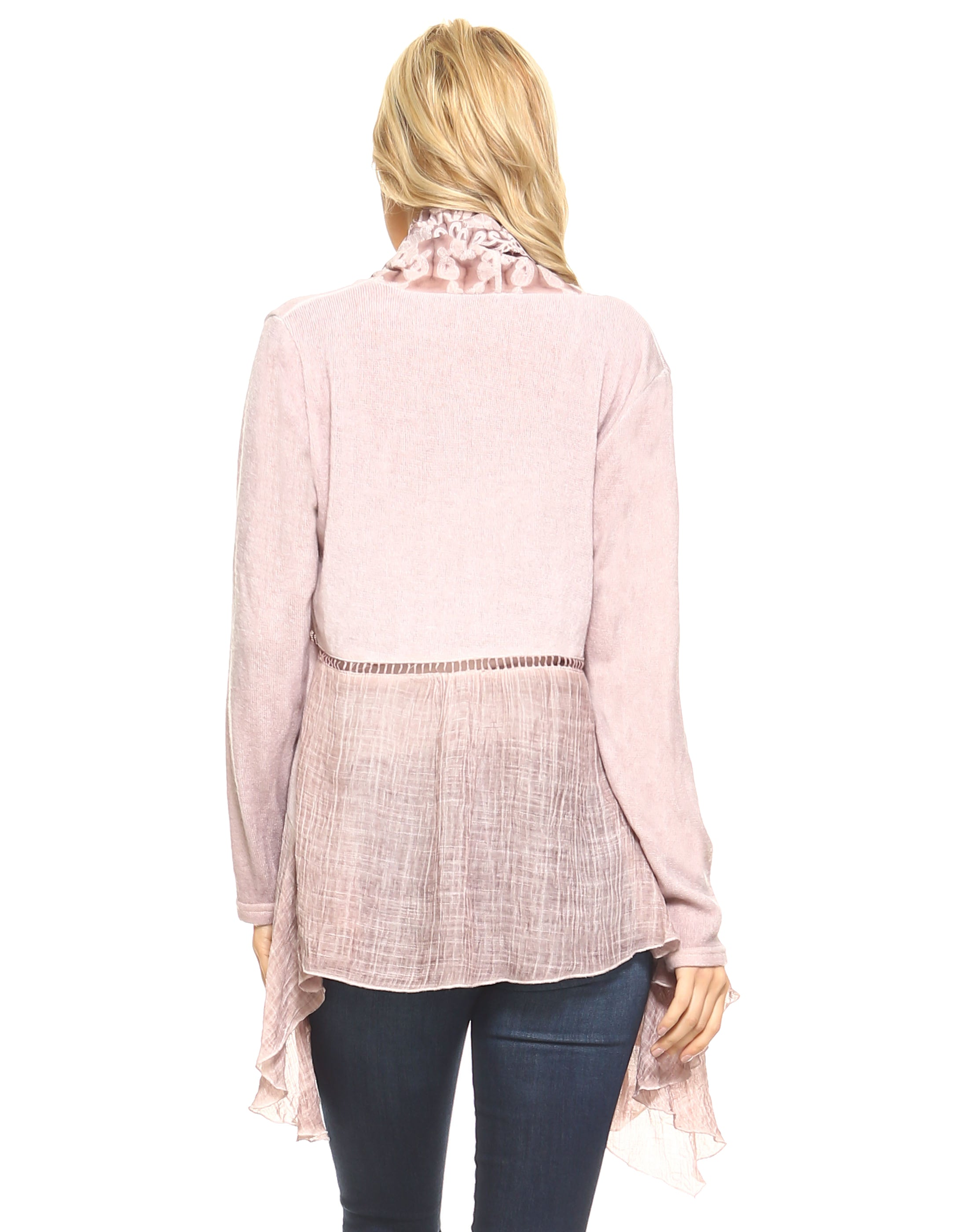 Dusty Pink Scalloped Lace Front Open Cardigan