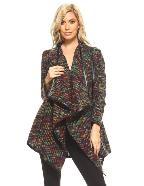 Multi Color Faux Leather Trim Cardigan