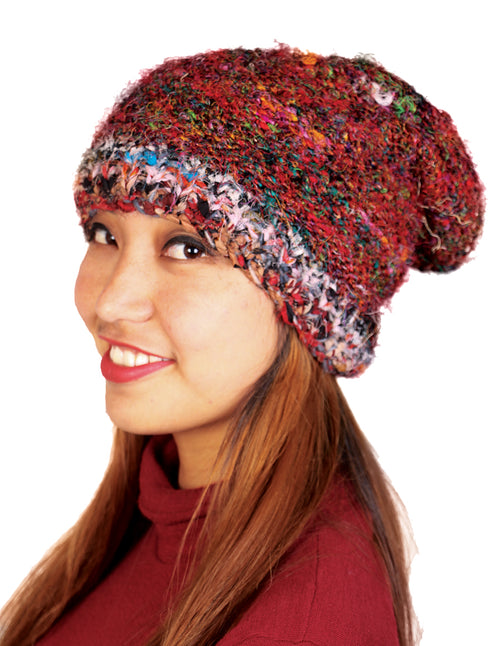 Recycled Silk Slouched Beanie