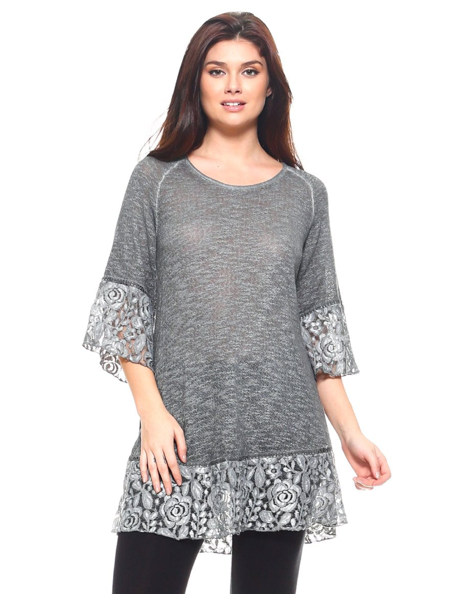 Grey Lace Trim Tunic