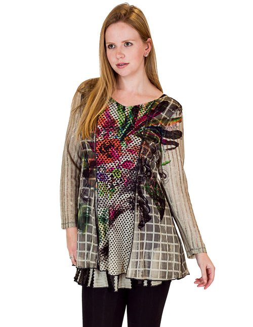 Layered Window Pane Center Mesh Tunic