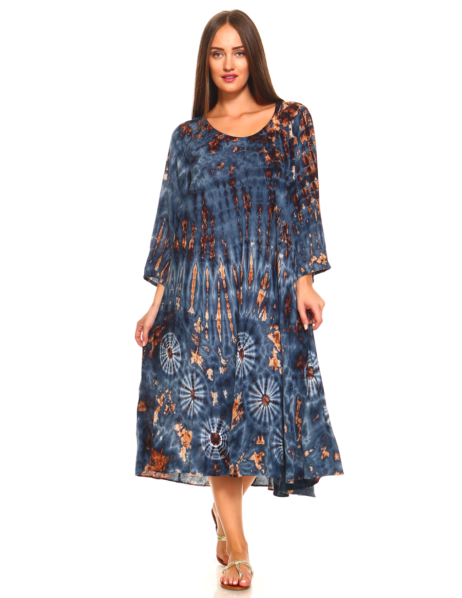 Tie Dye Rayon Full Sleeve Dress