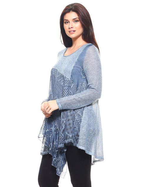 Blue Lacy Full Sleeve Tunic
