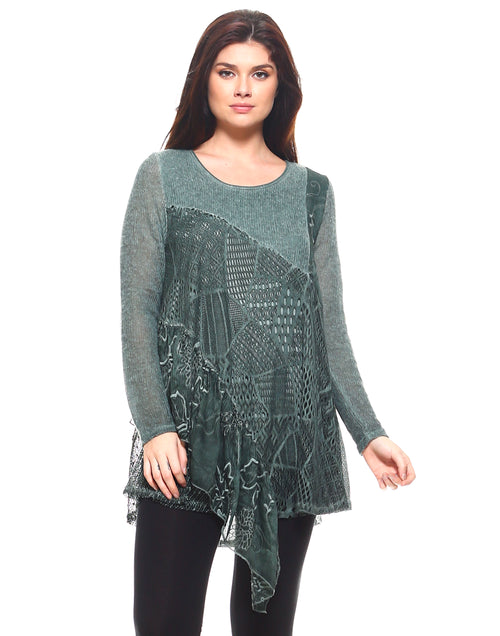 Green Lacy Full Sleeve Tunic