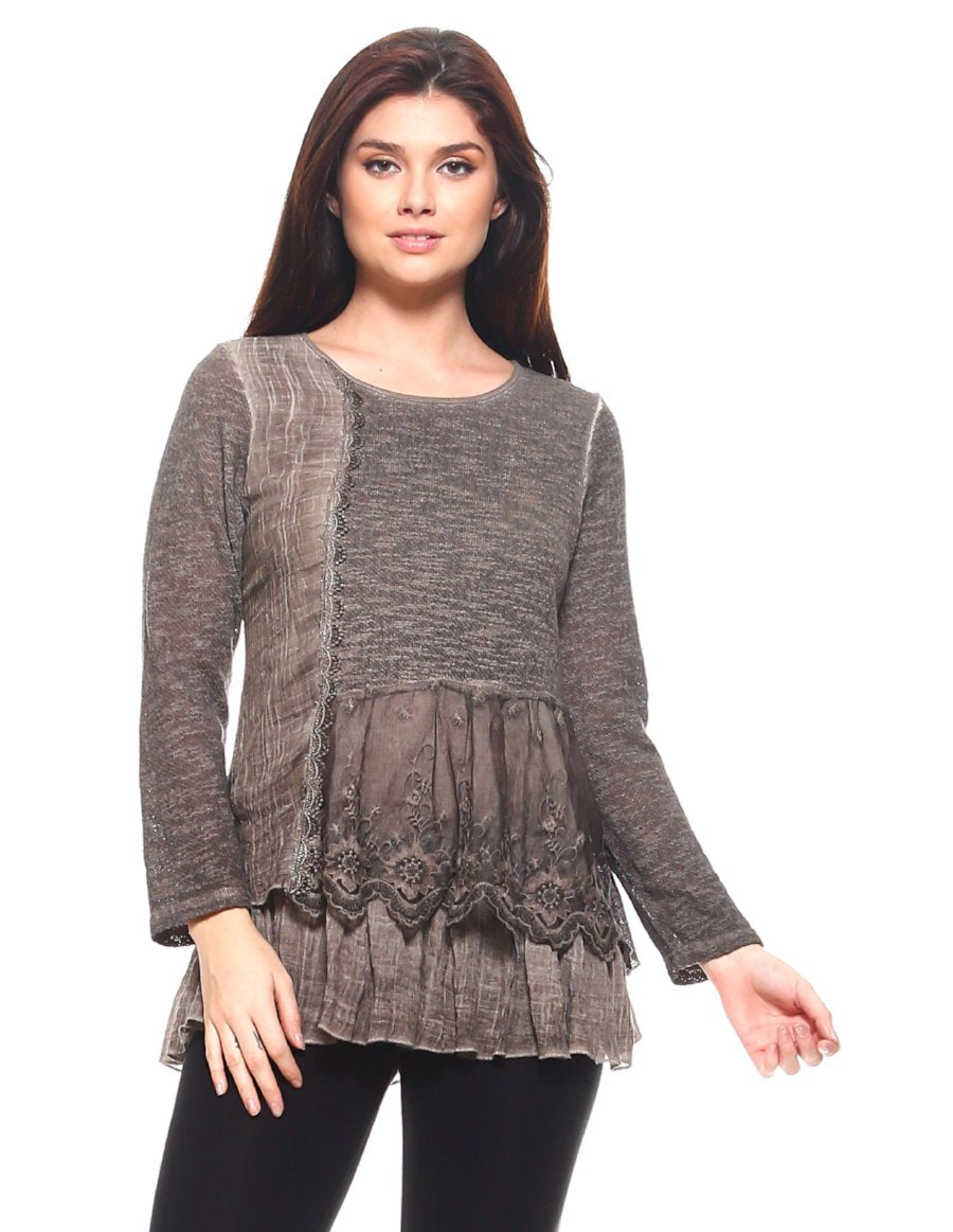 Brown Lace & Ruffles Full Sleeve Top