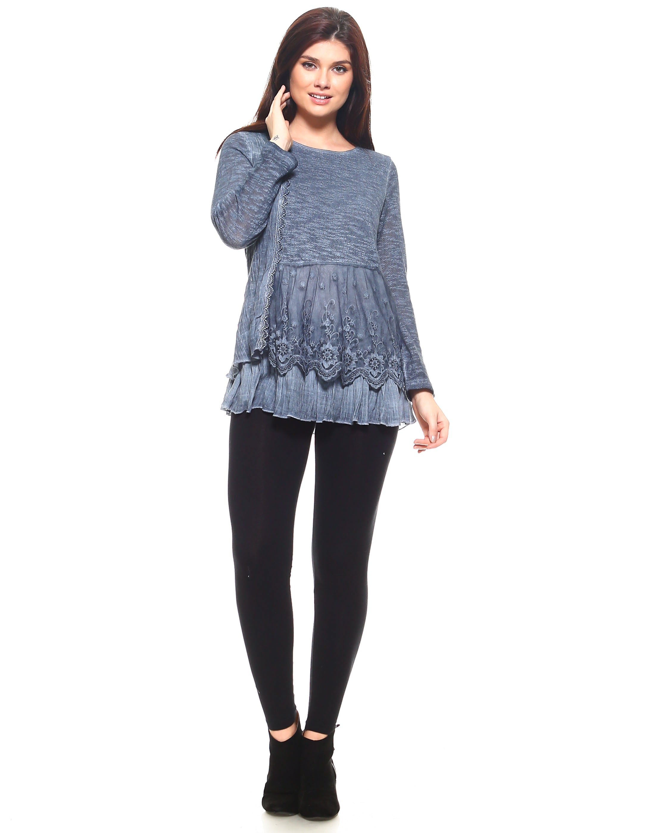 Blue Lace & Ruffles Full Sleeve Top