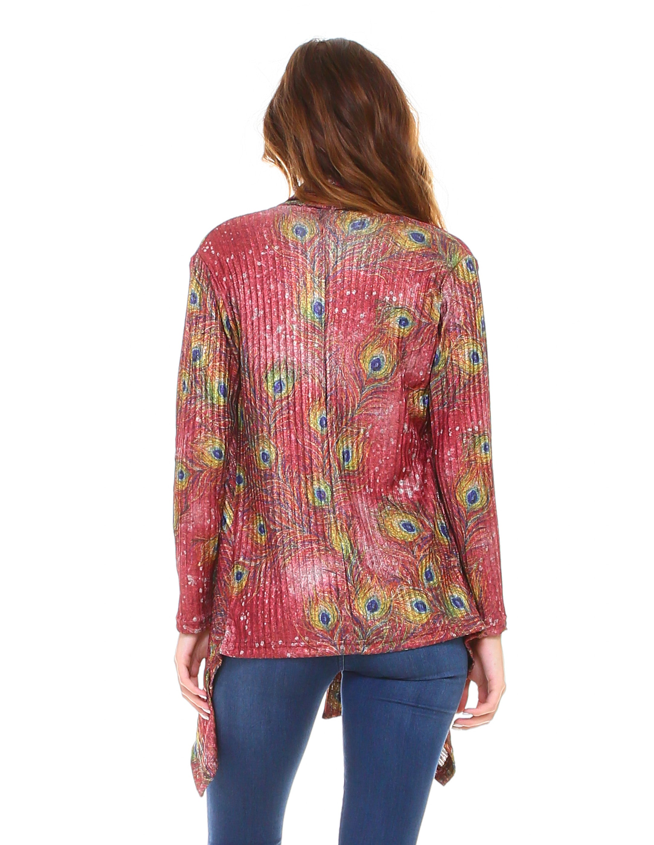 Peacock Feathers Cardigan Red