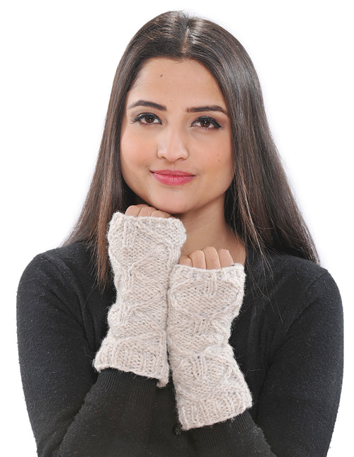 Cable Knit Wool Arm Warmers