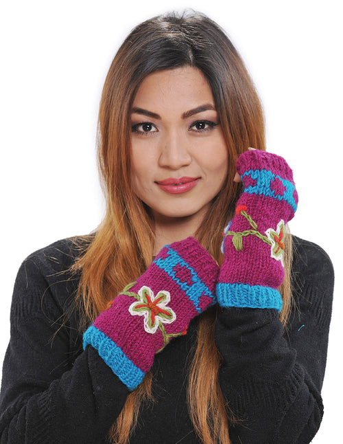 Flower Embroidered Wool Knit Arm Warmers