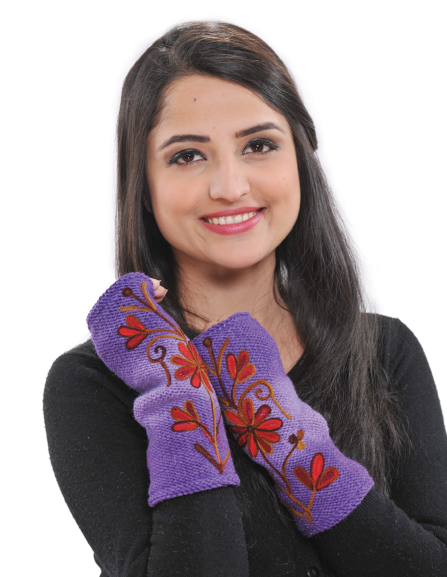 Embroidered Wool Knit Arm Warmers