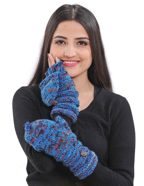 Multi-color Yarn Knit Convertible Flip-Flop Mittens