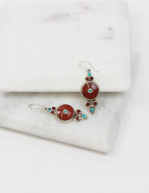 Tibetan Coral Sterling Silver Earrings