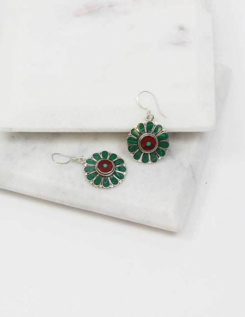 Malachite Flower Sterling Silver Earrings