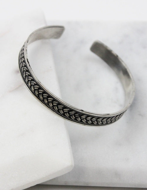 Sterling Silver Braids Effect Cuff