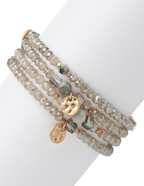 Grey Crystal & Charms Stretchy Bracelet