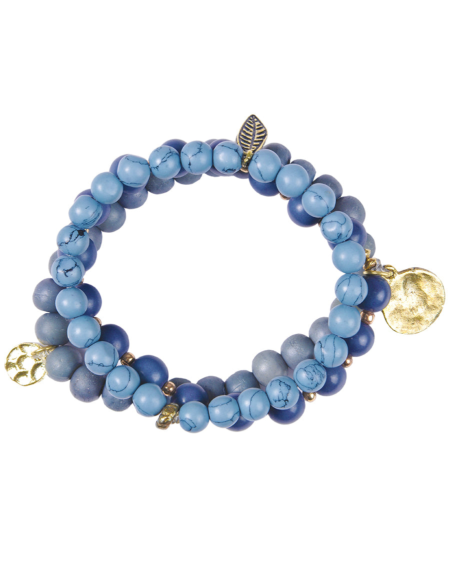 Shades of Blue Beads Stretchy Bracelet
