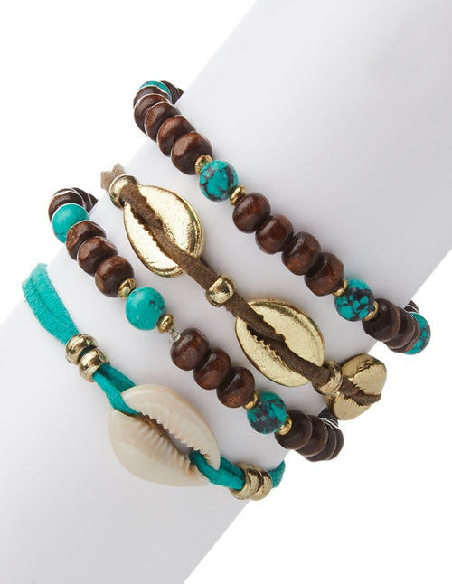 Cowrie Shell & Beads Bracelet Set