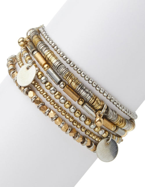 Gold & Silver Metallic Stretchy Bracelet