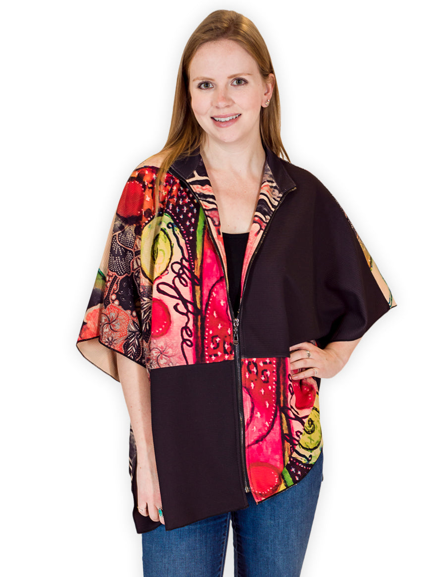 Palila Zip Up Oriental Print Cape