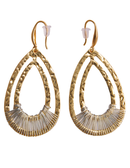 Wire Wrap Gold Drop Earrings