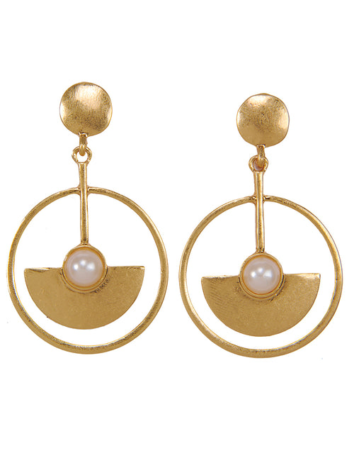 Pearl Detail Circle Drop Earrings